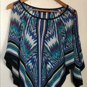 Bebe Blue Tribal Open shoulder Blouse Size S